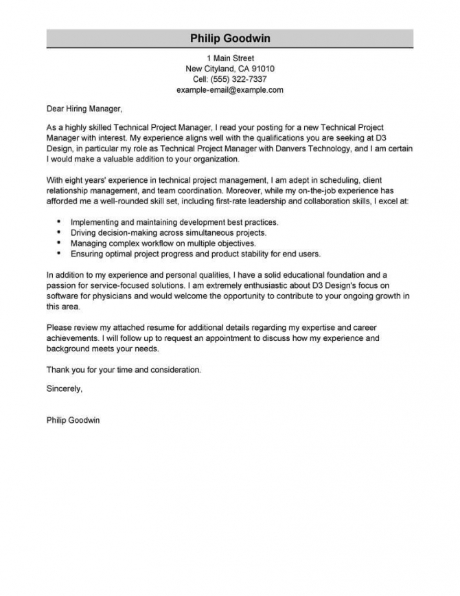 Best Technical Project Manager Cover Letter Examples