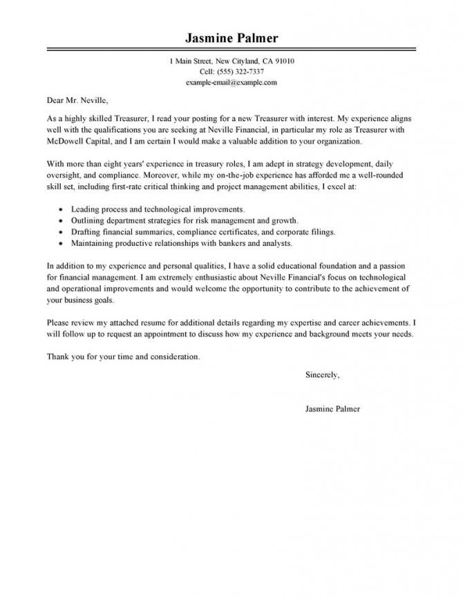 Best Treasurer Cover Letter Examples