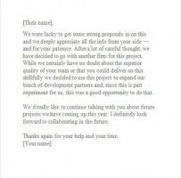 Polite Rejection Letter To Vendor