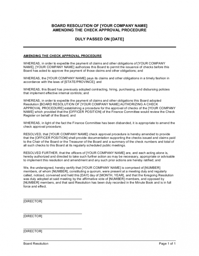 Board Resolution Amending The Check Approval Procedure Template