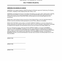 Board Resolution Authorizing A Check Approval Procedure