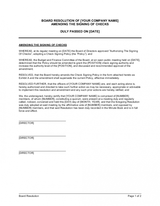 Board Resolution Amending The Signing Of Checks Template