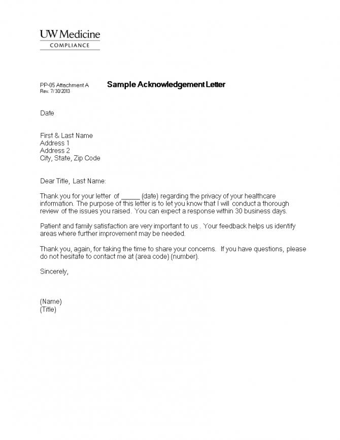 Business Acknowledgement Letter Format