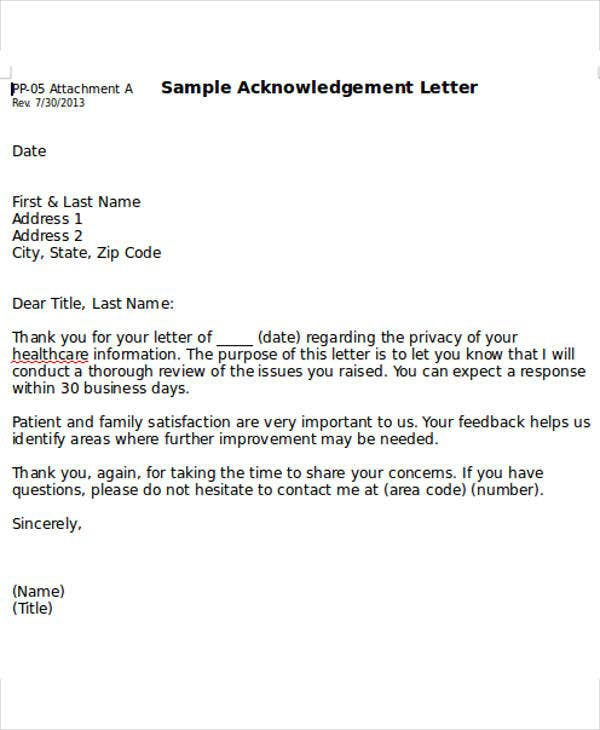 Business Acknowledgement Letter Templates