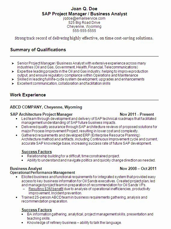 Business Analyst Resume Summary Luxury Sample Resume Sap Project