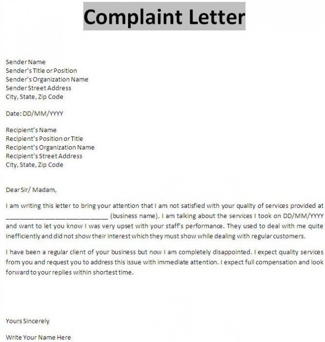 Business Letter Of Complaint Letters Font