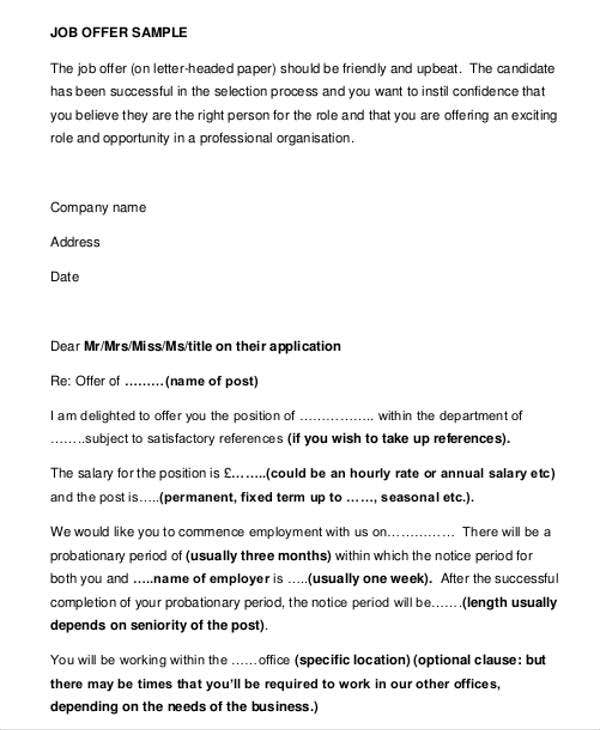 Business Offer Letter Template