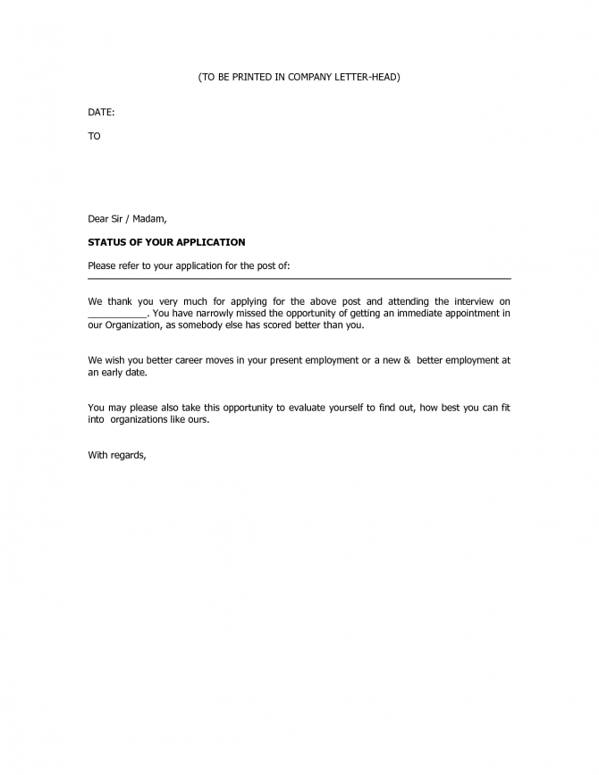 Business Rejection Letter