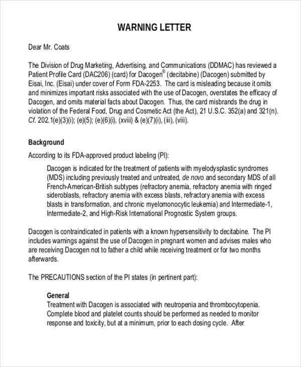 Business Warning Letter Template