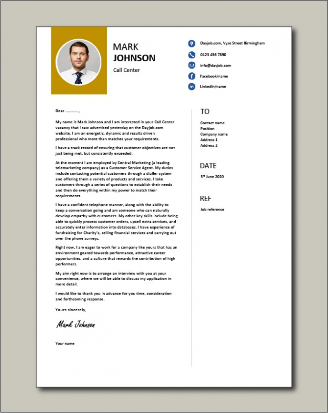 Call Center Cover Letter  Example  Centre  Samples  Representative