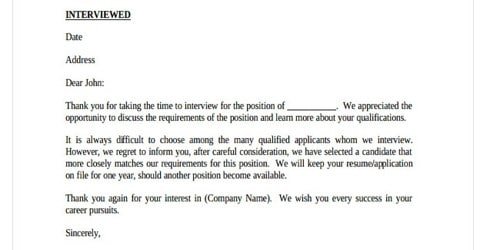 Candidate Rejection Letter After Interview