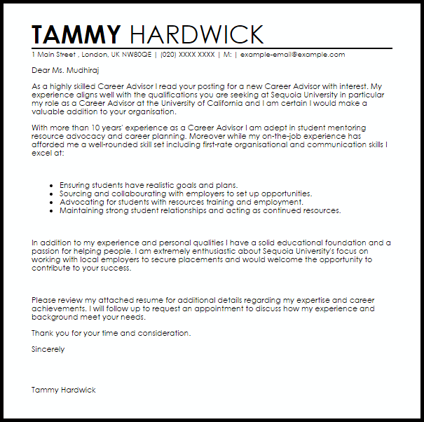 Career Advisor Cover Letter Sample