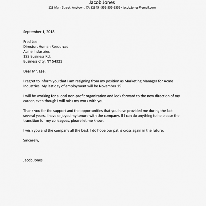 Career Change Letter Of Resignation Example