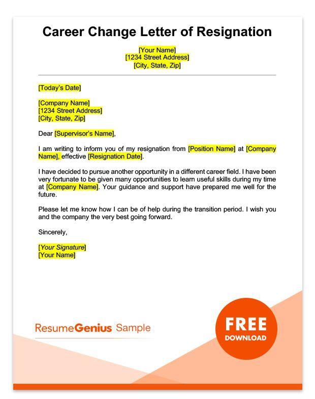 Career Change Resignation Letter Template