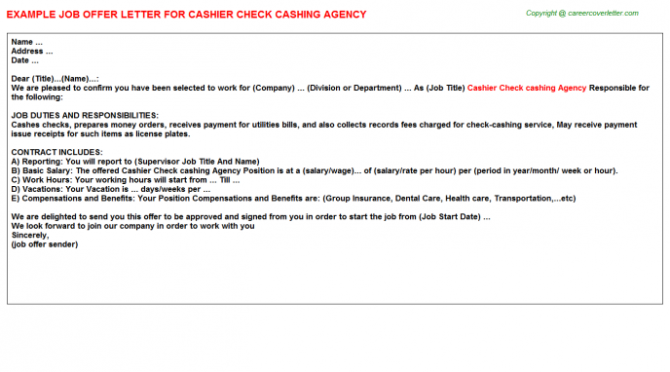 Cashier Check Cashing Agency Offer Letter