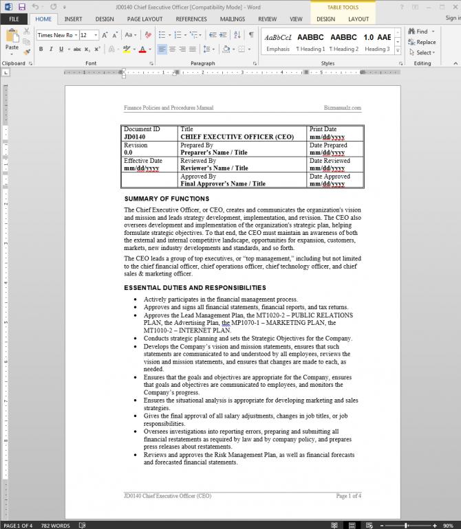 Ceo Chief Executive Officer Job Description