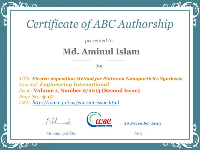 Certificate Of Abc Authorship