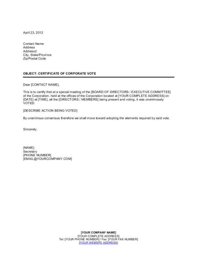 Certificate Of Corporate Vote Template