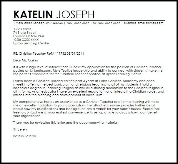 Christian Teacher Cover Letter Sample