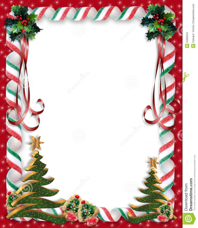 Christmas Candy And Holly Border Stock Illustration