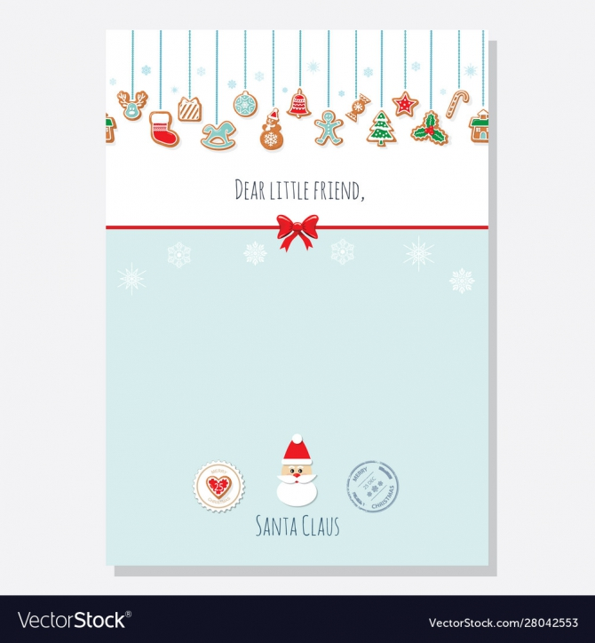 Christmas Letter From Santa Claus Template A Vector Image