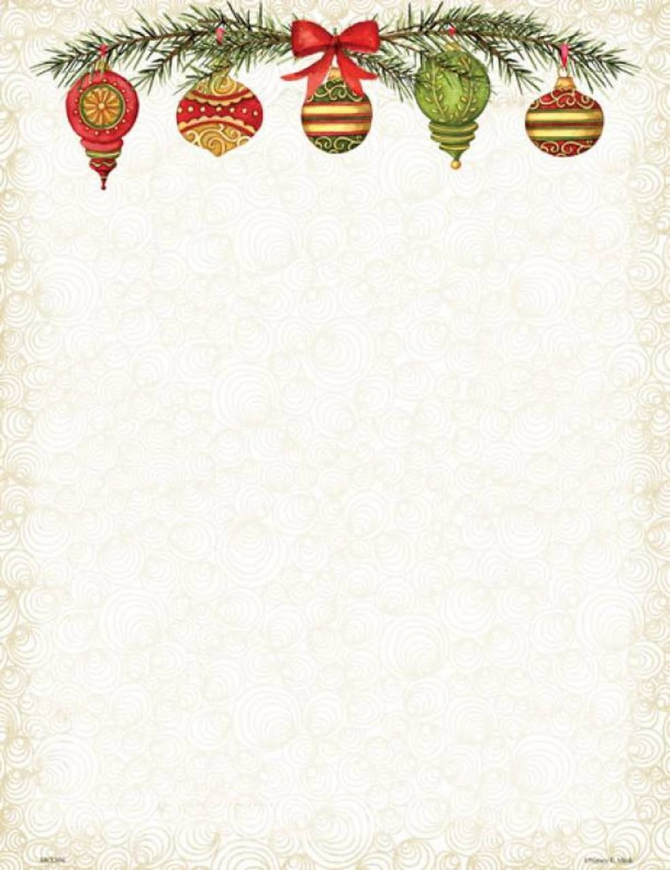 Christmas Ornaments Letter Paper