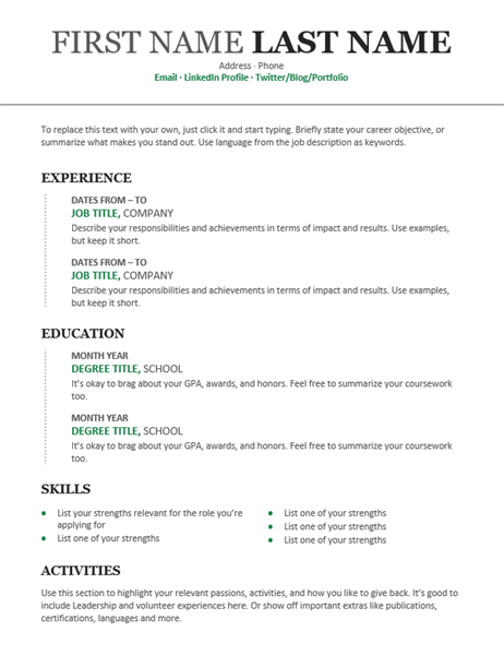 Chronological Resume Modern Design