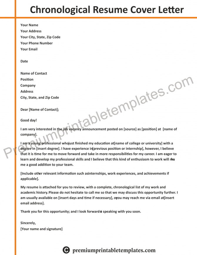 Chronological Resume Pack Of