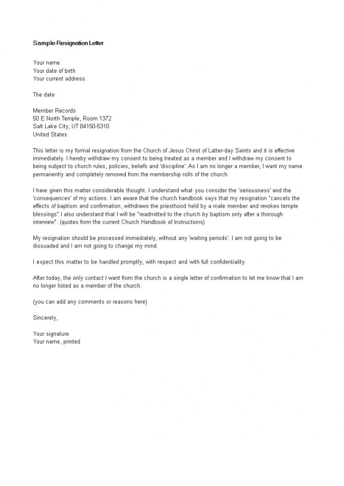 Church Resignation Letter For Member