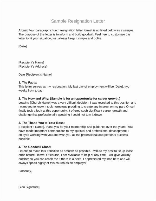 Church Resignation Letter For Pastors Awesome Free  Church