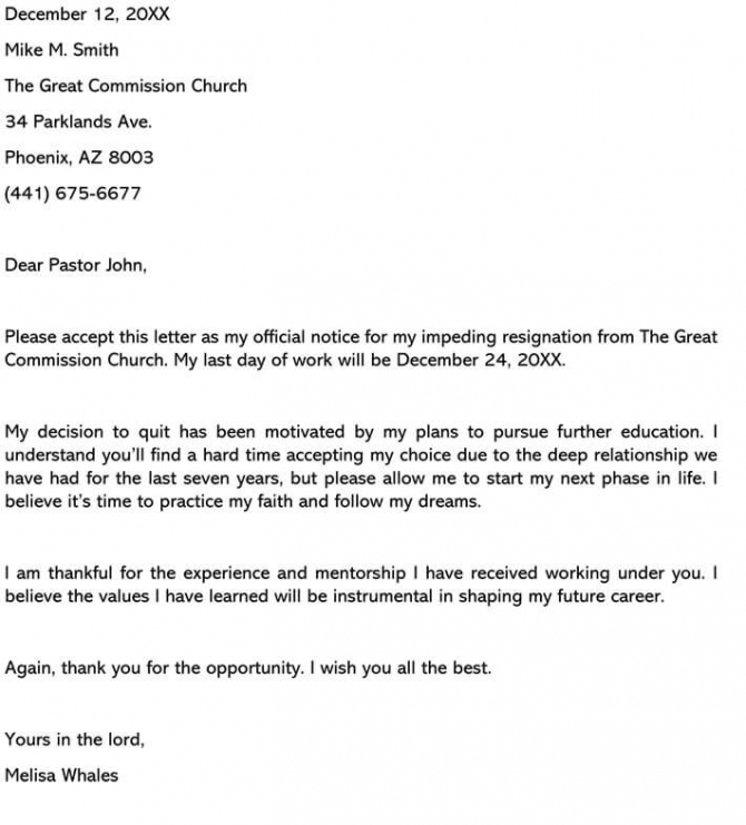 Church Resignation Letter Samples Religious Group