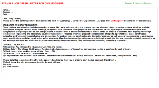Civil Engineer Offer Letter