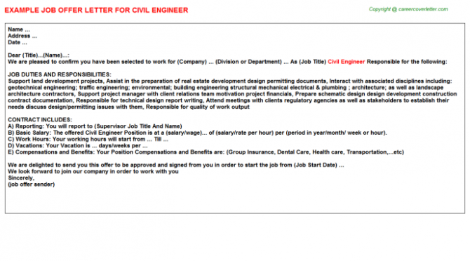 Civil Engineer Offer Letters