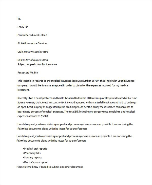 Claim Template Letter Business Proposal Plan Sample Claims Health