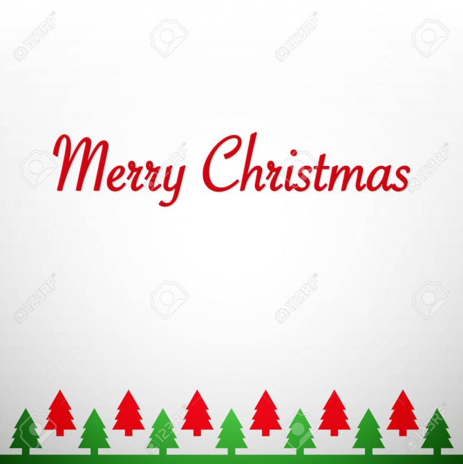Clean Simple Vector Merry Christmas Greetings Card Royalty Free