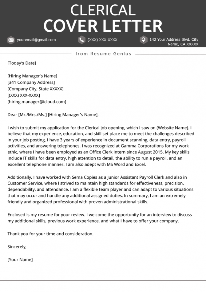 Clerical Cover Letter Example   Tips