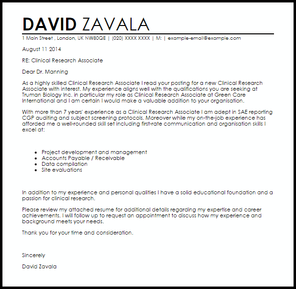 Clinical Research Associate Cover Letter Sample
