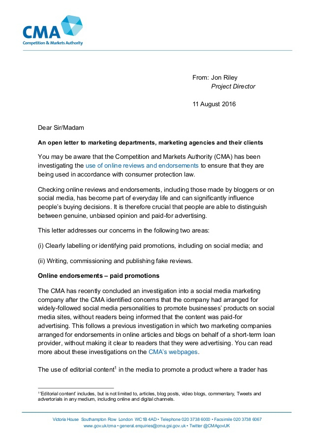 Cma Uk An Open Letter To Marketing Departments Marketing Agencies And