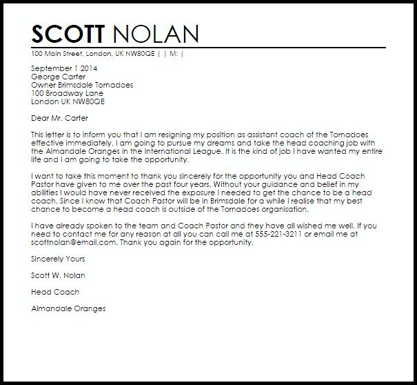 Coaching Resignation Letter Example
