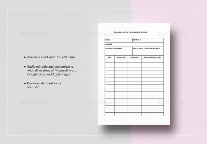 Collection History For Delinquent Account Template