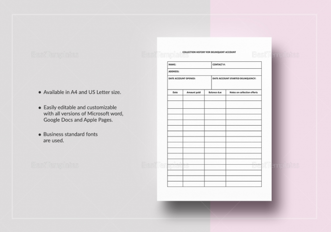 Collection History For Delinquent Account Template In Word  Google