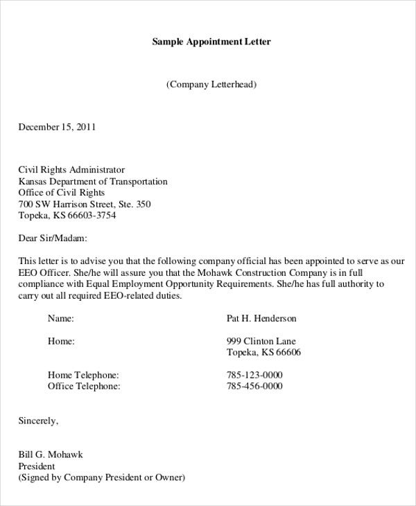 Company Appointment Letter Templates