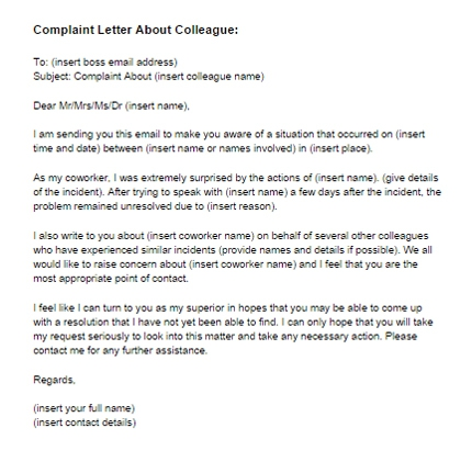 Complaint Letter About Coworker Sample