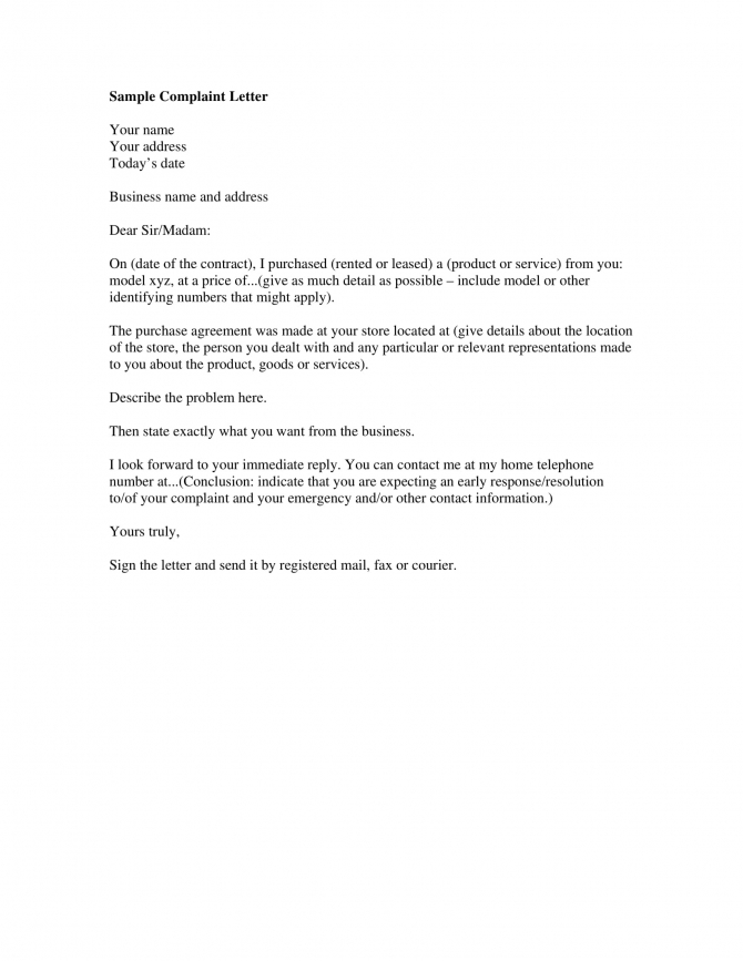 Complaint Letter Examples