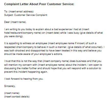 Complaint Letter For Bad Customer Service
