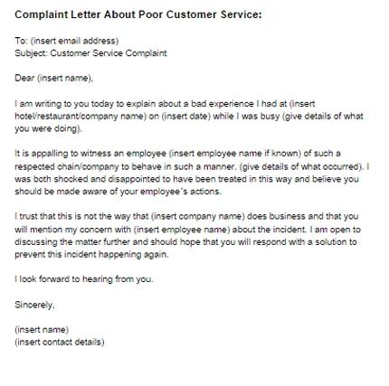 Complaint Letter Poor Customer Service Sample