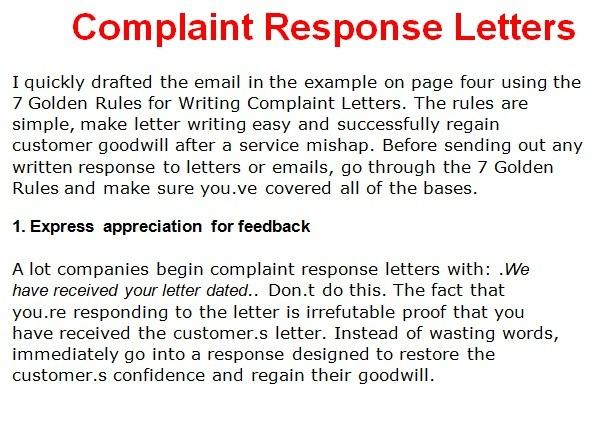 Complaint Letter Template Writing Complaint Response Letters