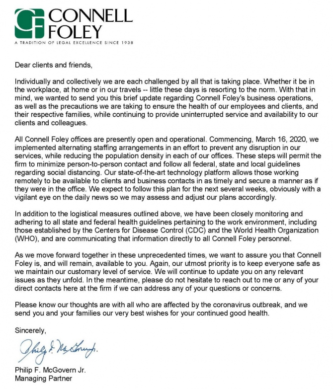 Connell Foley Letter To Clients Regarding Covid