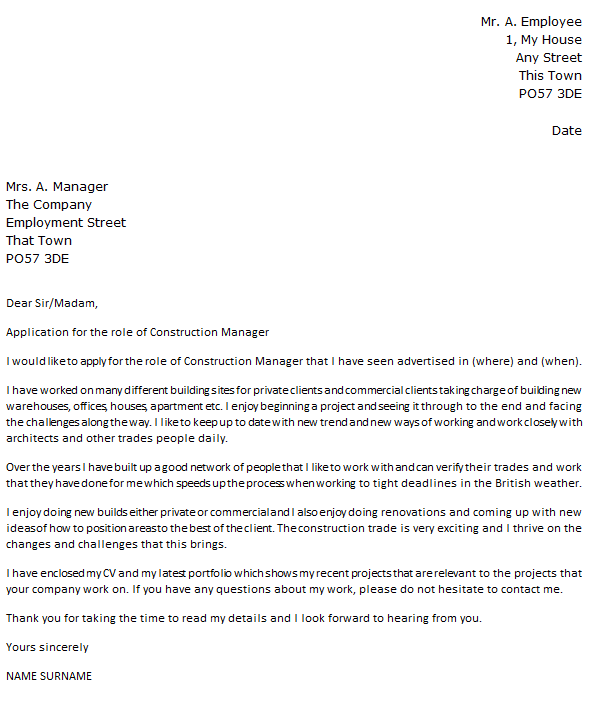 Construction Manager Cover Letter Example