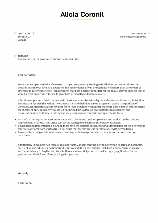 Contract Administrator Cover Letter Sample